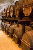 Barrels. Old wooden barrels of sherry in bodega of Spanish town of Jerez de la Frontera Royalty Free Stock Image