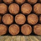 Barrels. Wall of wooden barrels. 3d image Stock Photography