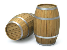 Barrels. Very high resolution 3d rendering of two wooden barrels over white Royalty Free Stock Image