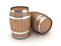 Barrels. Illustration of two wooden barrels on a white background Stock Image