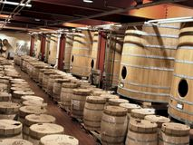 Barrels 3. Barrels in a famous Californian wine cellar royalty free stock photography