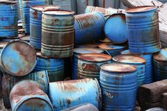 Barrels. A pile of blue rusty blue barrels stock photography