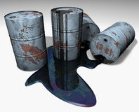 Barrels. Grey rusty barrels with leaking oil Royalty Free Stock Image