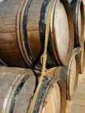 Barrels. Wooden barrels tied together at a winery Stock Image