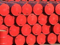 Barrels. Red barrels royalty free stock photography