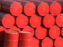 Barrels. Red barrels stock photo