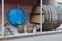 Barrels for aging beer Stock Photography