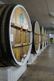 Barrels for aging fine wines in Massandra winery Stock Images