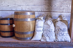 Barrels and bags of food. Stock Images