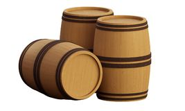Barrels. Barrel made of wood isolated on a white background Royalty Free Stock Images