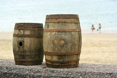 Barrels on the Beach Stock Photos