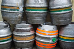 Barrels of beer. Group of metal beer barrels Stock Photo