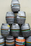 Barrels of beer. Group of metal beer barrels Stock Images