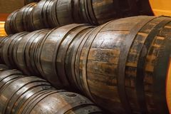 Barrels of a beer brewery stock photos