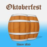 Barrels of beer with lettering. Background for beer festival Oktoberfest in cartoon style. Vector illustration. Holiday Royalty Free Stock Image