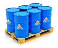 Barrels with biofuel on shipping pallet. Creative abstract fuel, oil and gas industry and ecology protection technology business concept: blue metal barrels or Royalty Free Stock Photos