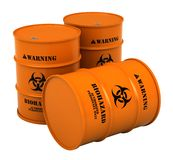 Barrels with biohazard substance. 3d render of barrels with biohazard substance isolated over white background Stock Photos