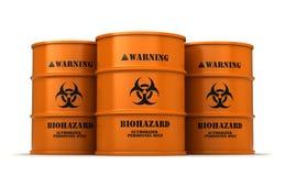 Barrels with biohazard substance. 3d render of barrels with biohazard substance isolated over white background Stock Images