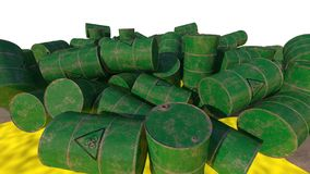 Barrels of biological waste. Isolated . 3D render. An old barrels of biological waste. Background. 3D render Stock Photo