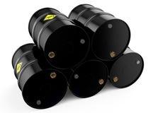 Barrels. Black oil barrels on a white background Stock Image