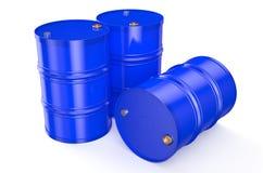 Barrels blue. Blue metal barrels on a white background Royalty Free Stock Image
