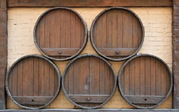 Barrels and Brick Stock Photo