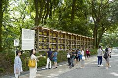 Barrels of Burgundy from France was donated to the Meiji-shrine, located in Shibuya, Tokyo. Tokyo, Japan, 2rd, June, 2017. Barrels of Burgundy from France was stock photos