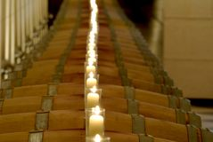 Barrels with candles Royalty Free Stock Photography