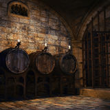 Barrels and candles in a cellar Stock Photography
