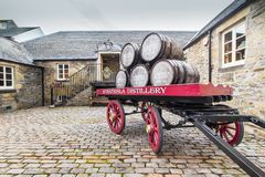 Barrels and cart, Strathisla whisky distillery royalty free stock images