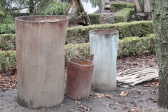 Barrels carved from a tree trunk Royalty Free Stock Images
