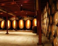 Barrels in Cellar. Rows of wine barrels in cellar royalty free stock image