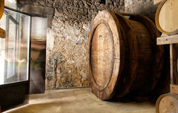 Barrels cellar. Wine passes on many processes and treatments before arriving at their bottles or barrels at a vineyard in the village of Binissalem on the Royalty Free Stock Images