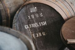 Barrels of Clynelish whiskey inside Brora Distillery, Scotland. Barrels of Clynelish whiskey inside Brora Distillery, Brora, Scotland. The distillery closed in stock photography