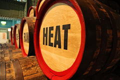 Barrels at cooperage display at the Guinness Storehouse brewery Royalty Free Stock Images