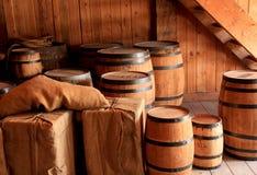Barrels and Crates. Historic storage room with crates and barrels Stock Photos