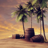 Barrels, crates and palm trees Stock Image