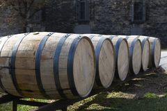 Barrels for distilling whiskey and bourbon. Great Smoky Mountain National Park. Tennessee USA. Barrels for distilling bourbon and whiskey royalty free stock image