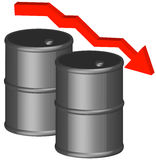 Barrels with downward arrow. 3d - barrel or fifty gallon drum with dropping arrow - oil concept - vector Stock Image