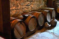 Wine Wood Barrels in Dungeon Stock Photo