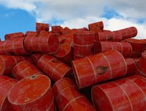 Barrels with flammable contents. 3D render. Old barrels with flammable contents.Background. 3D render Royalty Free Stock Photo