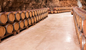 Barrels in french wine cellar Stock Photo