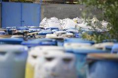 Barrels of hazardous substances stock photos