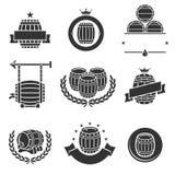 Barrels label collection set. Vector royalty free illustration