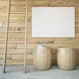 Barrels, ladder and billboard. Wooden interior with ladder, two barrels and blank billboard. Mock up, 3D Rendering Royalty Free Stock Image