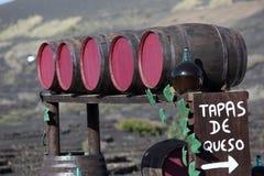 barrels lanzarote wine Arkivfoton