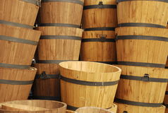 Barrels at Market. Landscaping barrels for sale at market Stock Photos