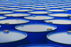 Barrels. Metal barrels of blue color Royalty Free Stock Image