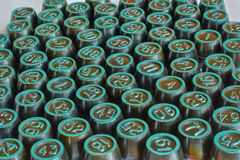 Barrels with numbers to play the Lotto. The barrels with numbers to play the Lotto closeup royalty free stock images