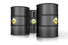 Barrels of oil. Illustration of 3d black Barrels Of Oil With Yellow Labels Stock Images